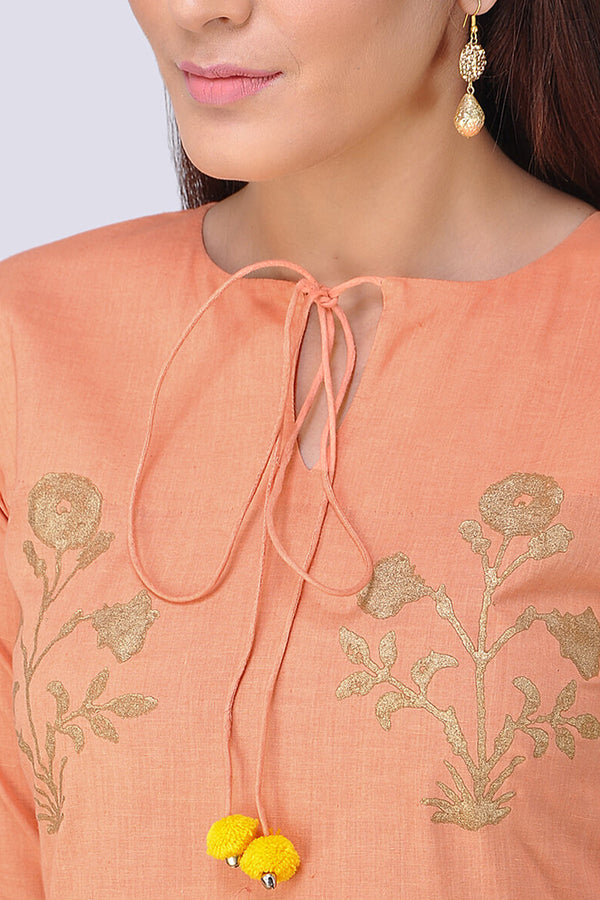 Peach Block Printed Kurta