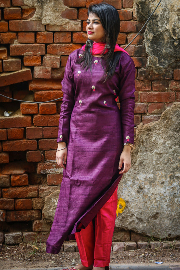 Burgandy Tussar Silk Kurta Set with Dupatta (Set of 3)