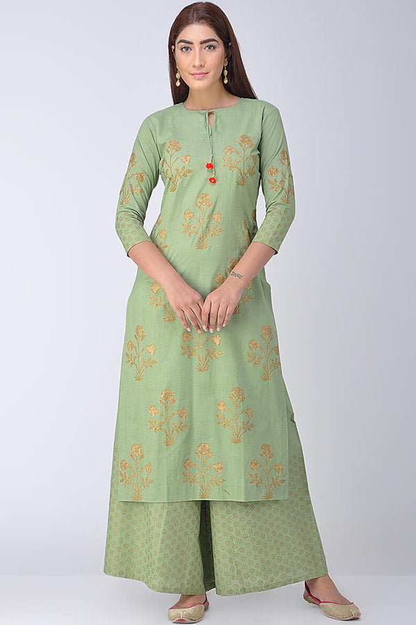 Mint Green Block Printed Kurta & Palazzo (Set of 2)