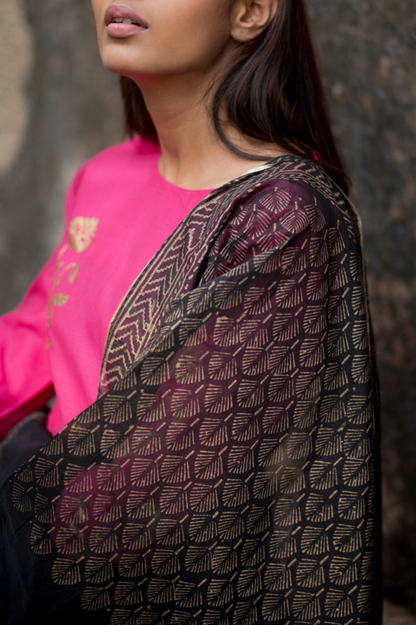 Black Floral Block Printed Chanderi Dupatta