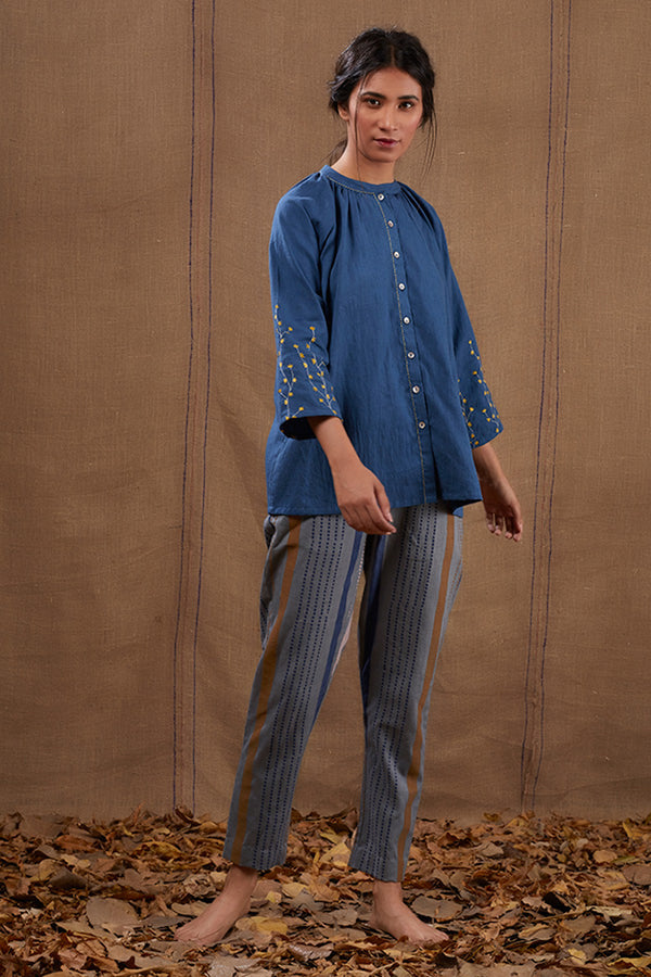 Indigo Gathered Short Top & Pant (Set of 2)