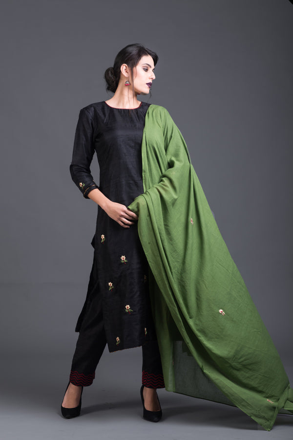 Charcoal Floral Set with Green Dupatta (Set of 3)