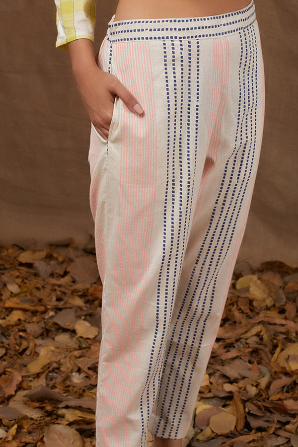 Ivory Cotton Block Printed Pants