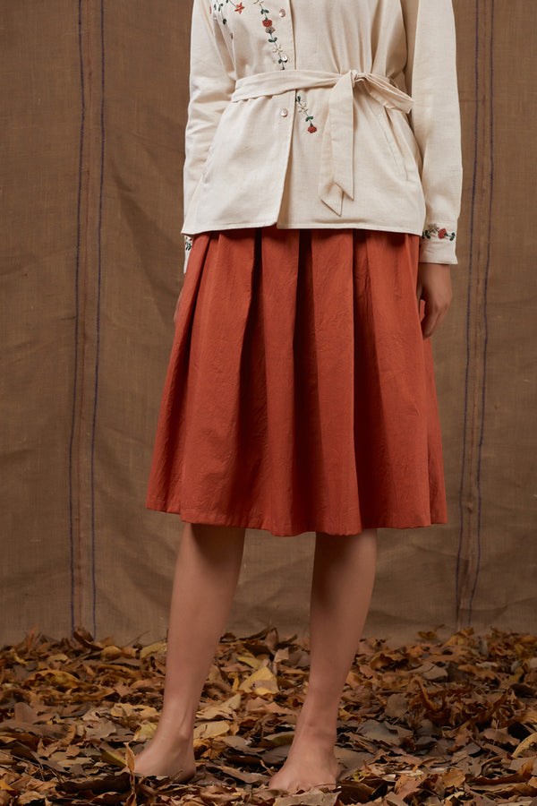 Rust Cotton Pleated Skirt