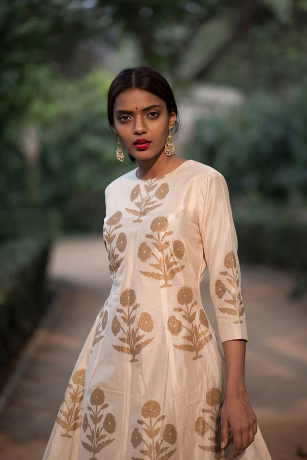Chandaniya Phool Printed Chanderi Kurta