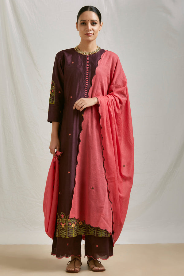 Coral Pink Embroidered Mulmul Scalloped Dupatta