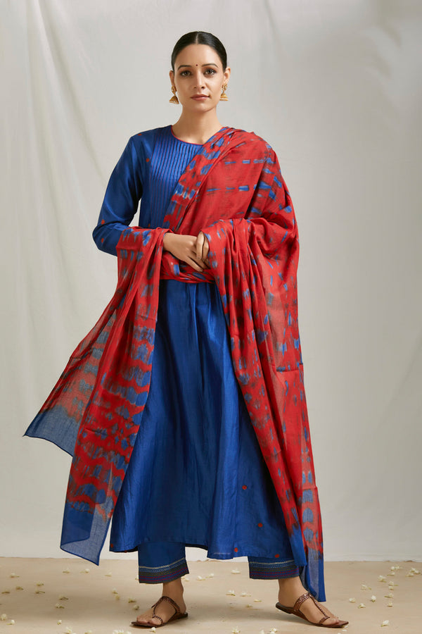 Royal Blue Pintucks Kurta Set with Dupatta (Set of 3)