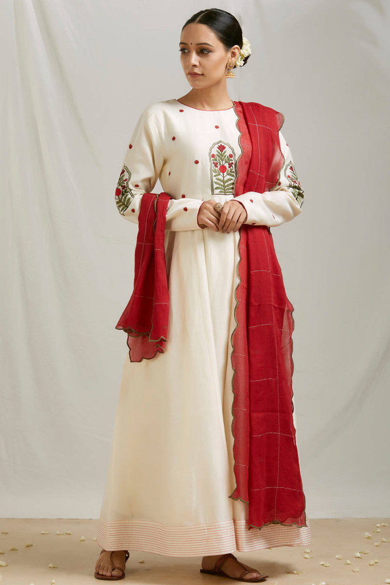 Ivory Embroidered Anarkali Set with Dupatta (Set of 3)