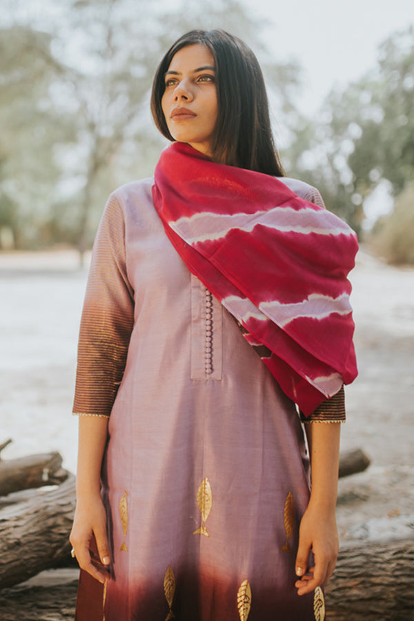 Iris Fish Printed Shaded Chanderi Kurta
