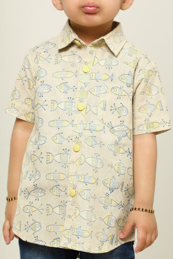 Yellow Fish Hand Block Printed Shirt