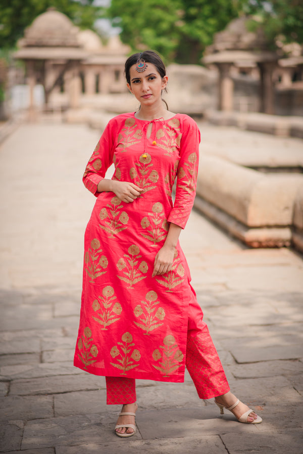 Red Block Printed Cotton Kurta