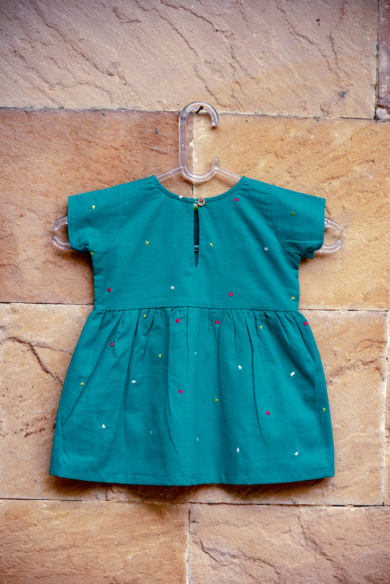 Turquoise Geometric Bow Dress