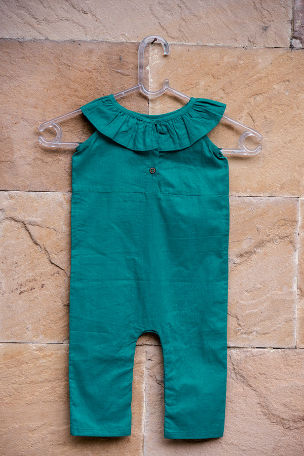 Color Block Turquoise Green Ruffled Dungarees