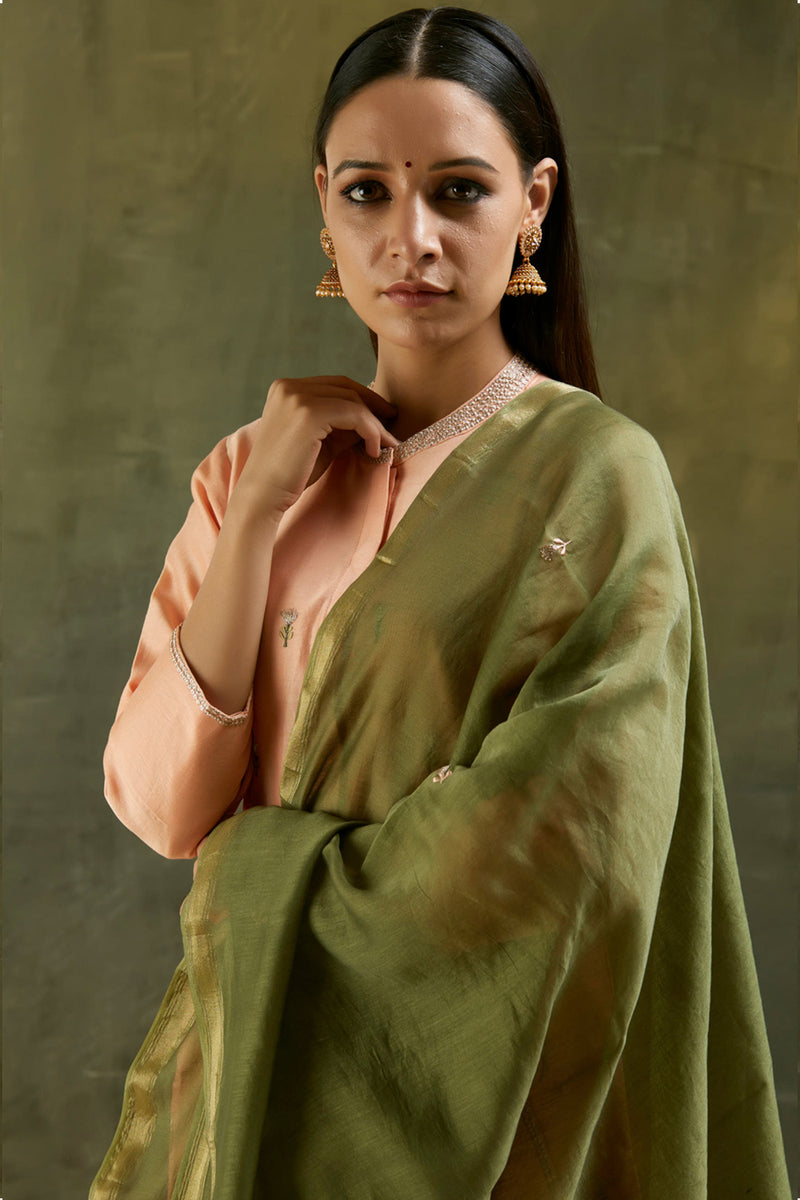 Moss Green Floral Embroidered Chanderi Dupatta