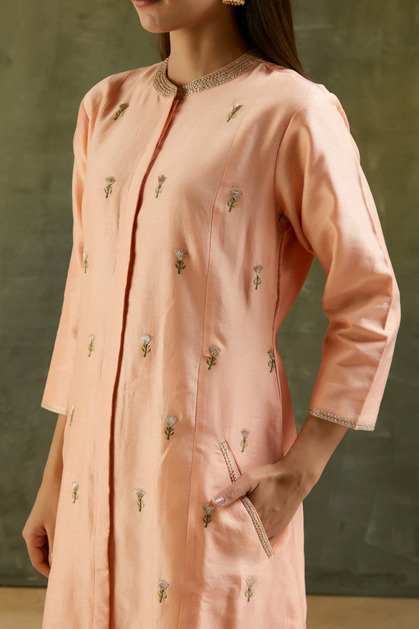 Peach Embroidered Chanderi Kurta