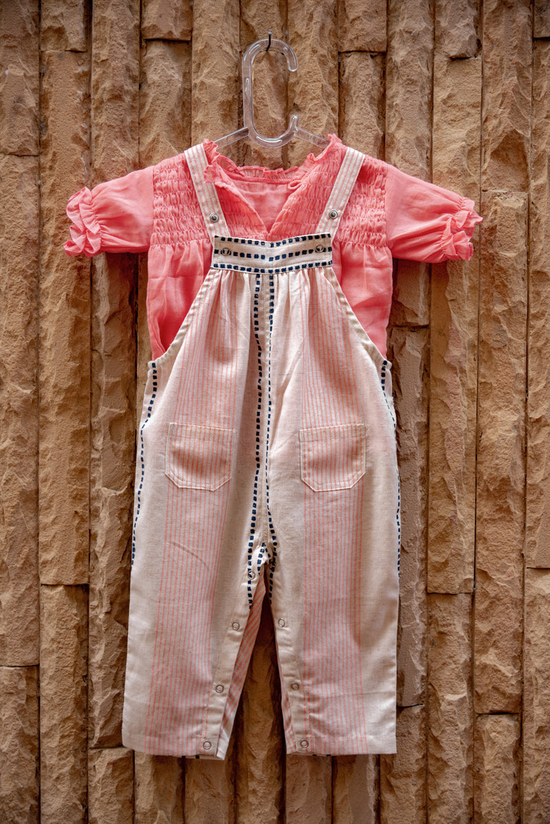 Stripe Block Printed Dungarees with Pink Top (Set of 2)