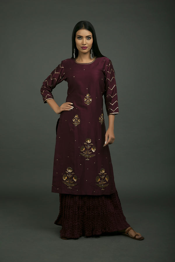 Baigani Phool Baag Embroidered Kurta
