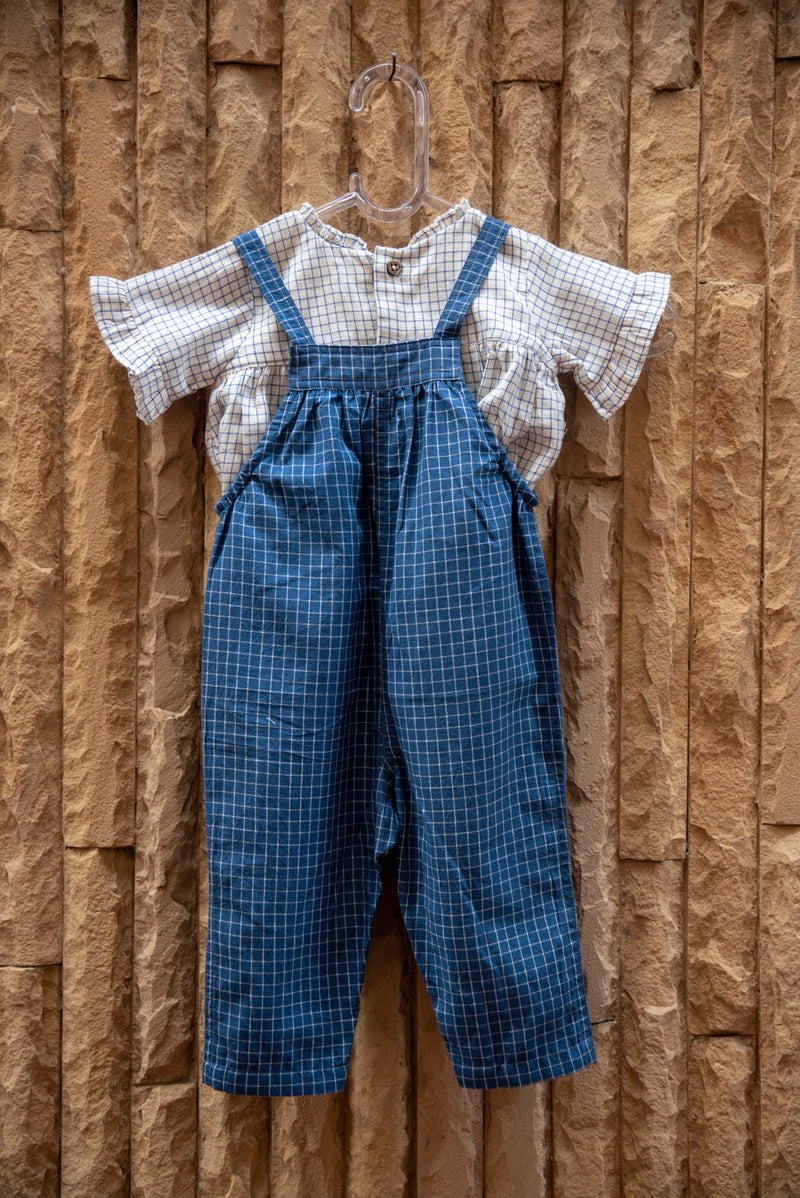 Gingham Embroidered Dungarees with Ivory Top (Set of 2)