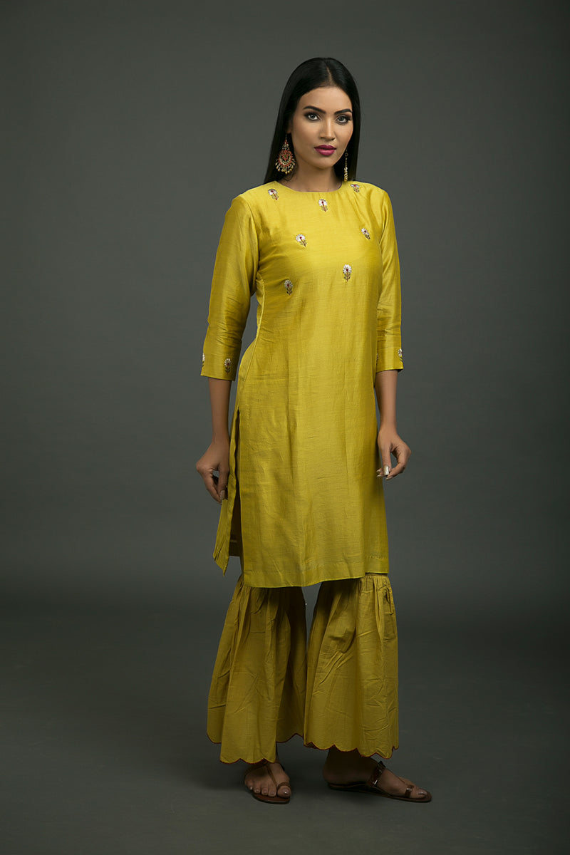 Yellow Cotton Scalloped Sharara