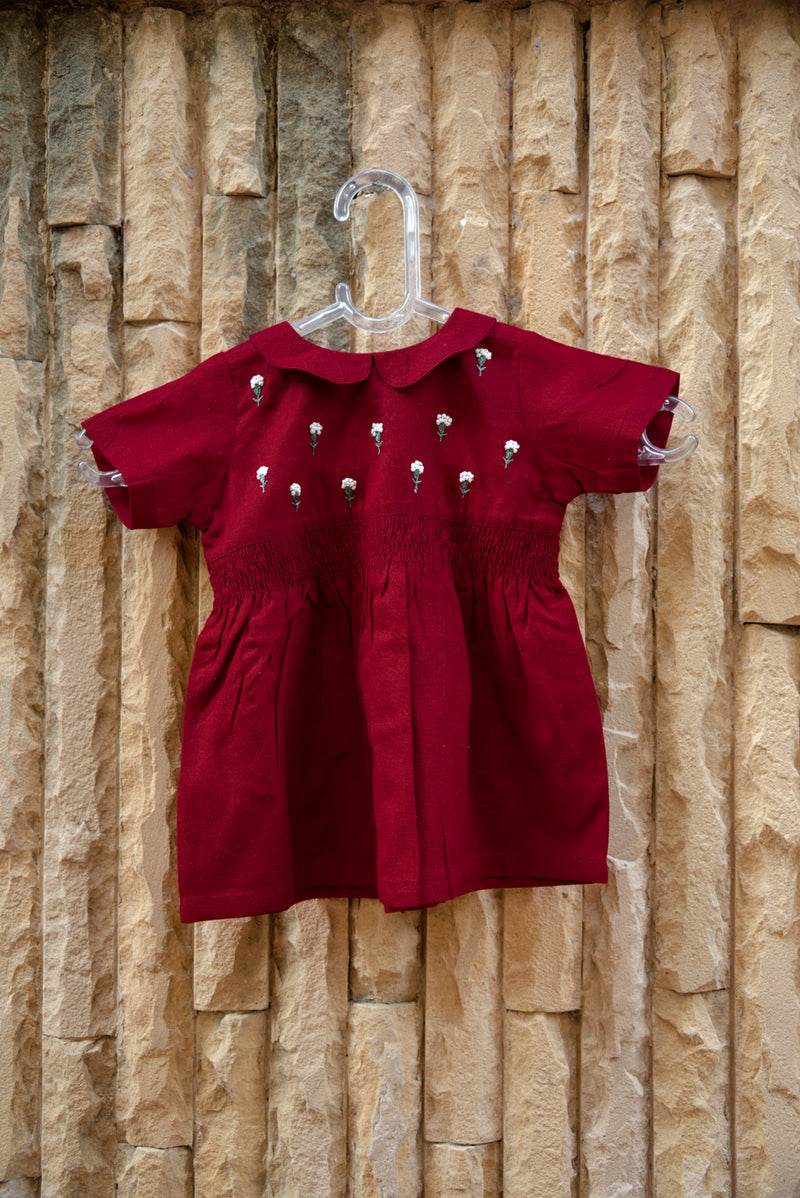 Red Valentine Floral Smocked Dress