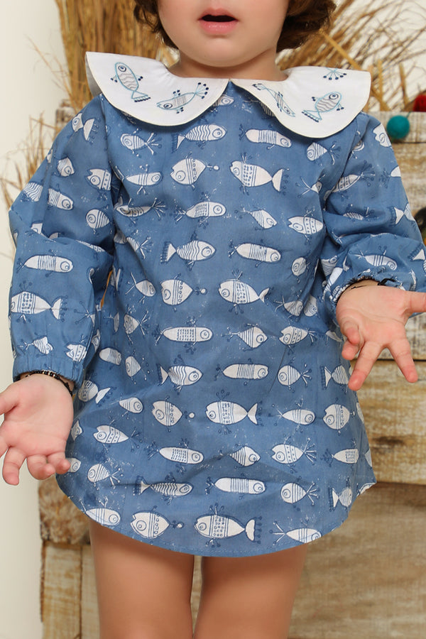 Blue Hand Block Fish Printed Cotton Top