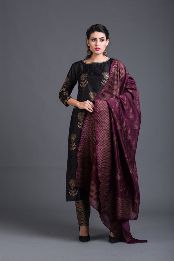 Wine Chanderi Printed Dupattta