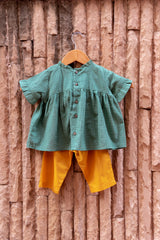 Green Gingham Floral Top With Mustard Pants (Set of 2)