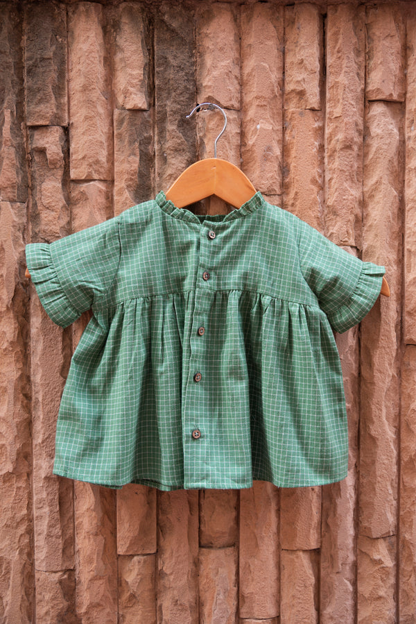 Green Gingham Floral Top