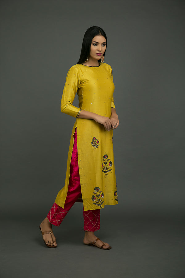 Rani Pink Pure Silk Embroidered Pant