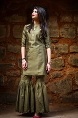 Olive Green Embroidered Kurta