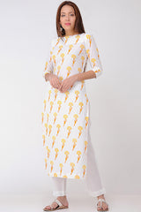 Yellow Rust Block-printed Kurta