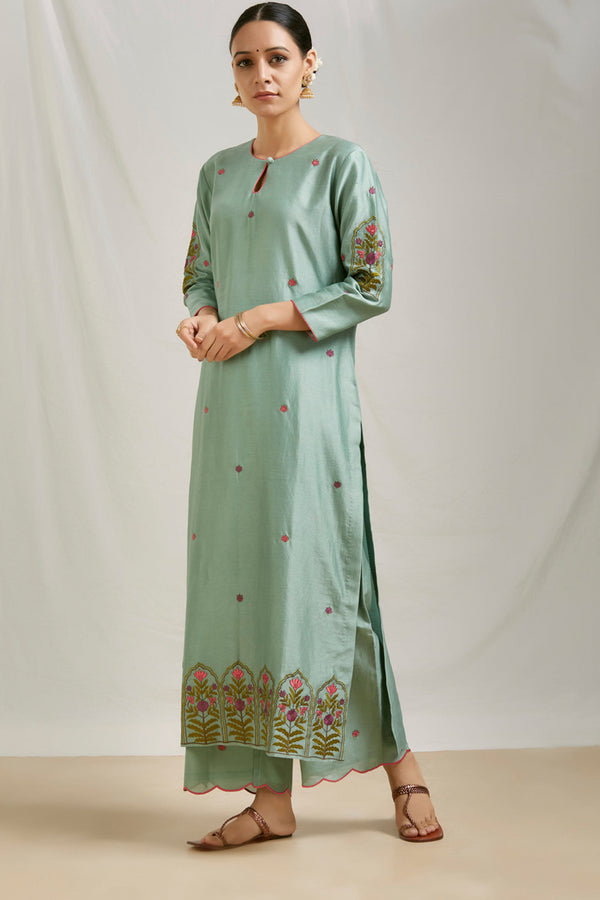 Teal Green Embroidered Kurta & Scalloped Palazzo (Set of 2)