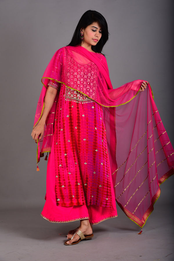 Onion Pink Hand Embroidered Gota Patti Kurta