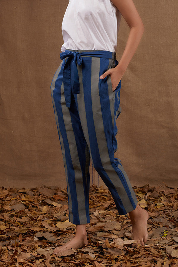 Blue Stripes Block Printed Pant