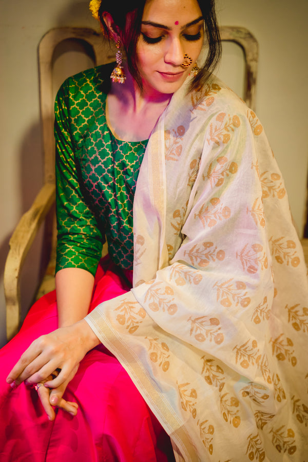 Green Muhal Jaali Chanderi Blouse