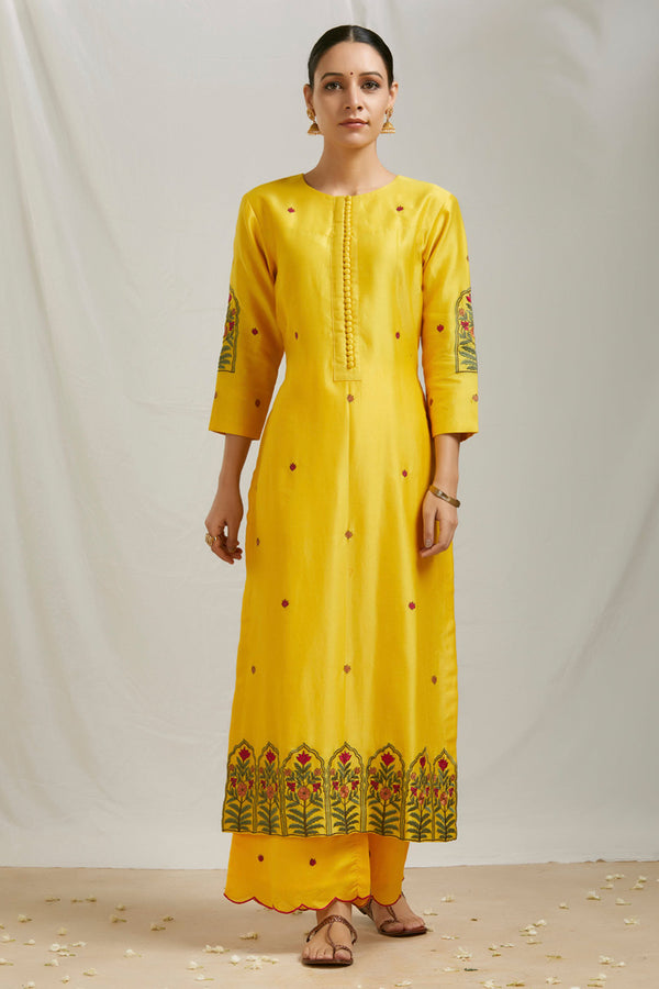 Mustard Embroidered Kurta & Scalloped Palazzo (Set of 2)