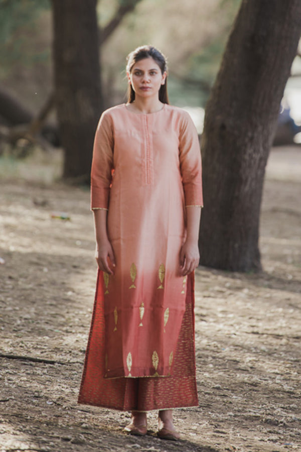 Apricot Peach Fish Printed Chanderi Kurta