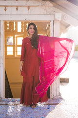 Red Embroidered Gharara Set with Dupatta (Set of 3)