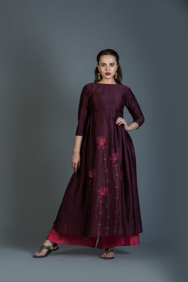 Burgandy Dandelion Embroidered Anarkali