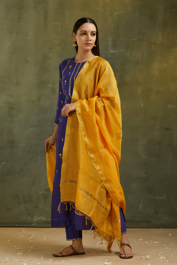 Mustard Yellow Hand Embroidered Floral Dupatta