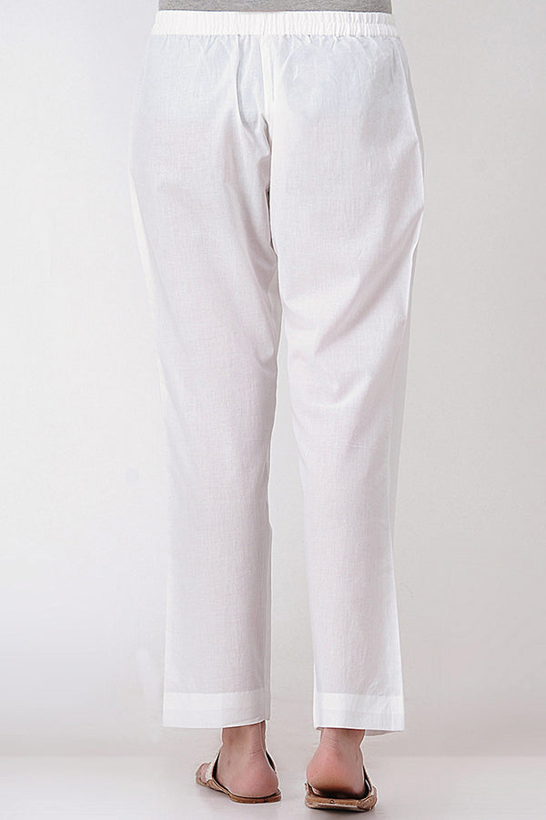 White Cotton Elasticated Pant