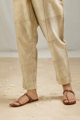 Ivory Stripes Printed Chanderi Pant
