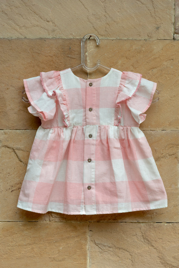 Pink Gingham Ruffle Dress