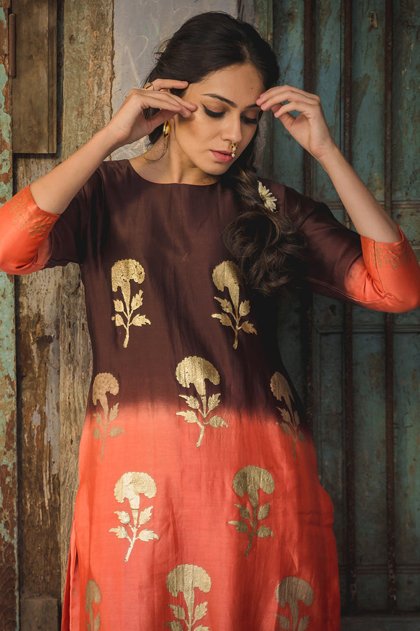Falak Shaded Phool Printed Kurta