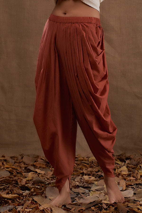 Rust Cotton Dhoti Pants