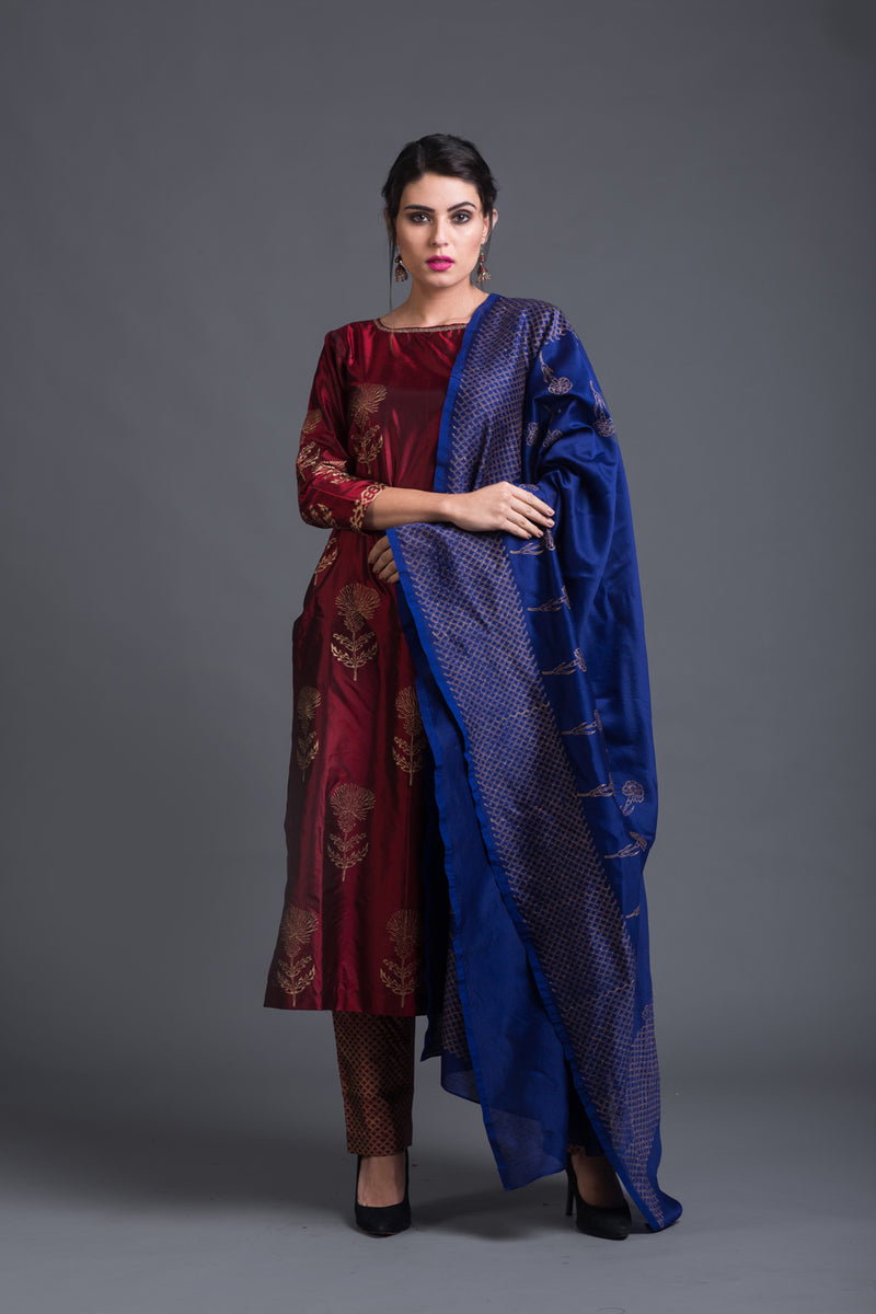 Ink Blue Chanderi Printed Dupattta