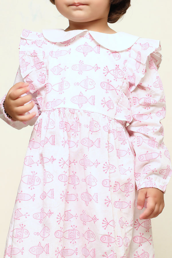 Pink Hand Block Fish Printed Cotton Dress