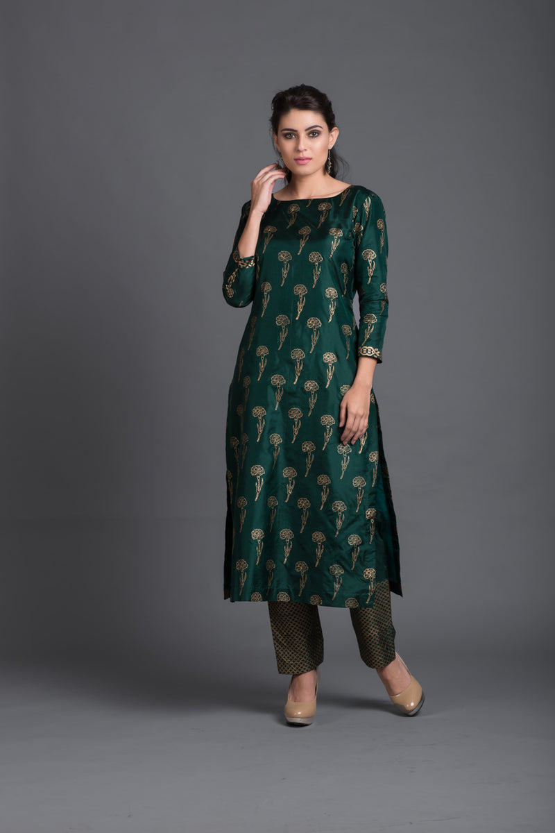 Emerald Silk Block Printed Kurta