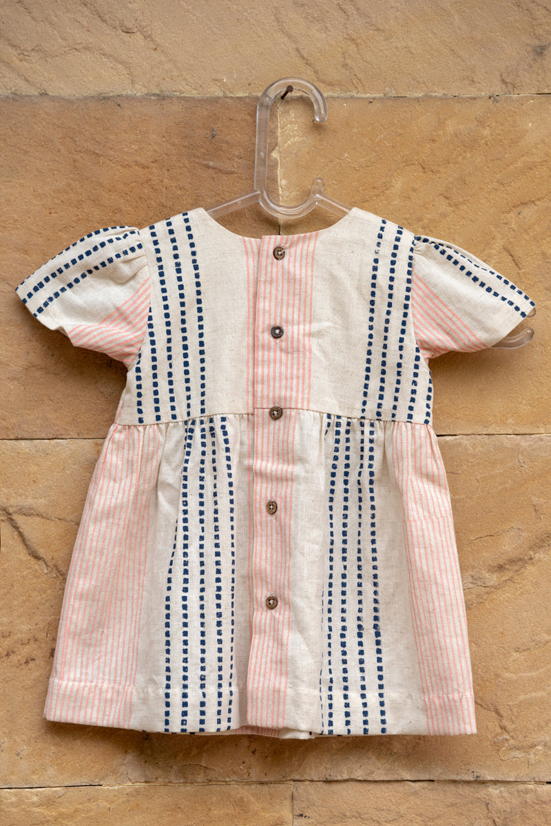 Ecru Cotton Stripe Buttoned Dress