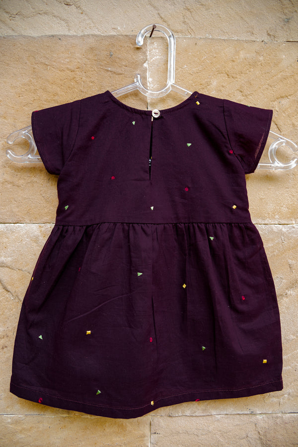 Wine Geometric Bow Dress